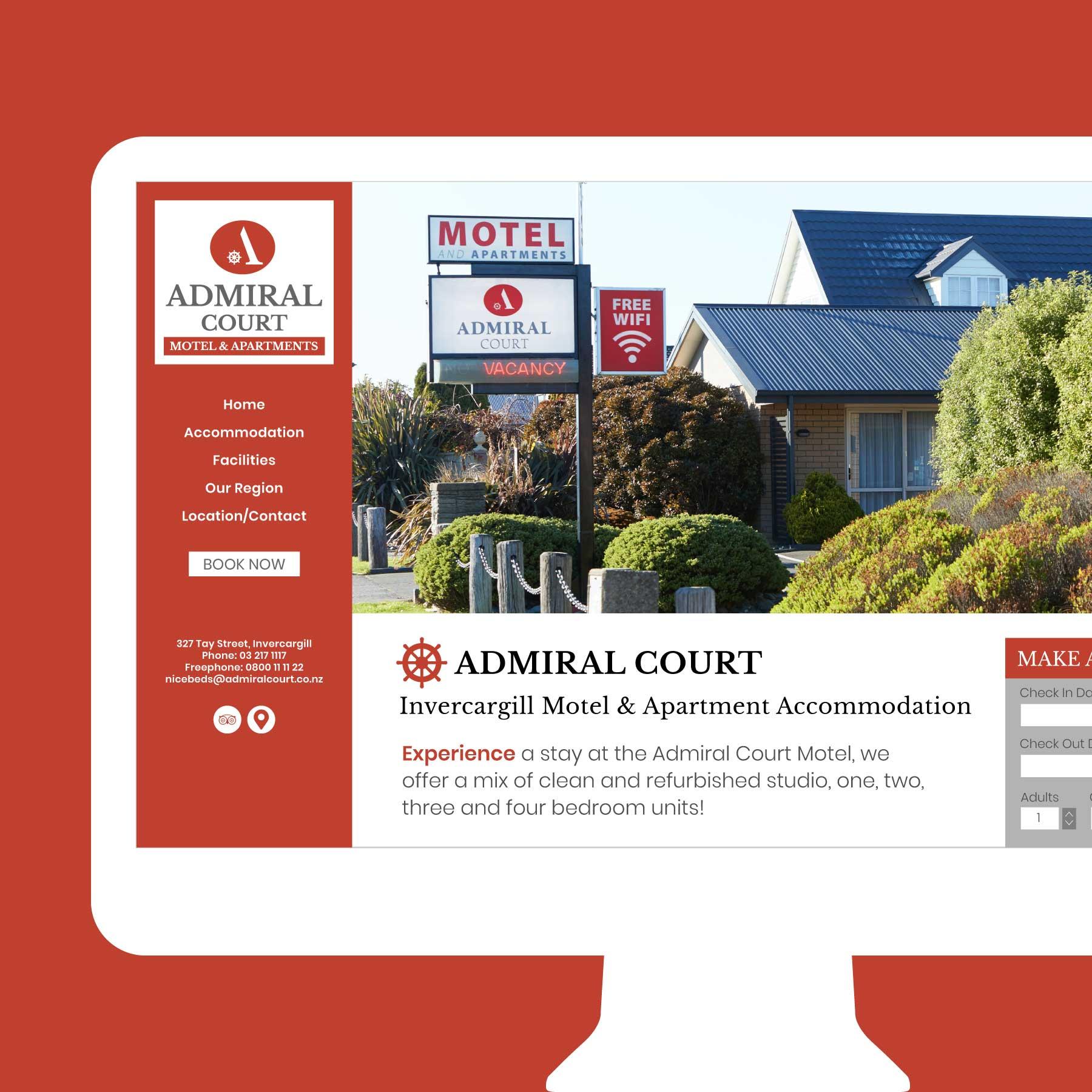 Admiral Court Motel & Apartments Invercargill Web Design