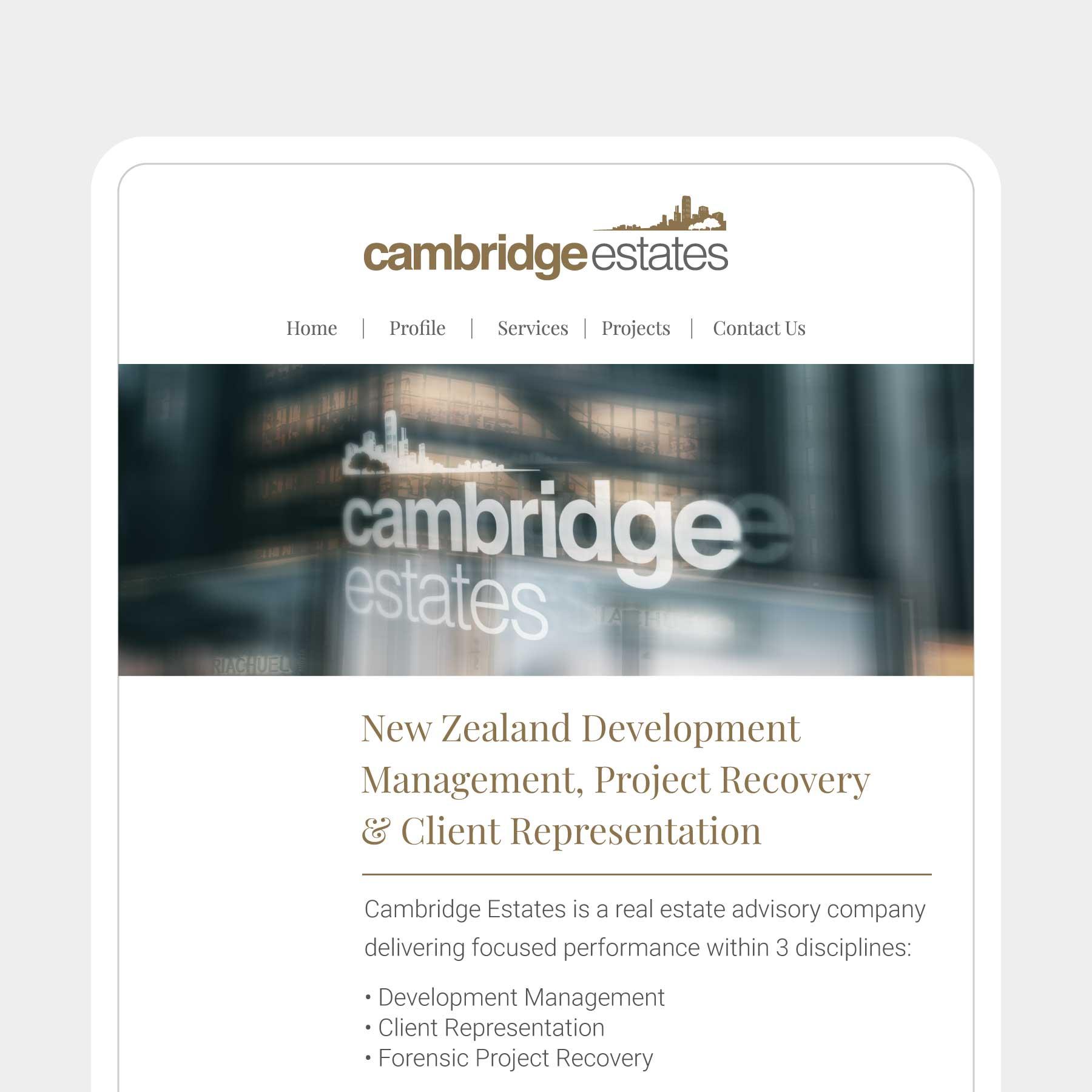 Cambridge Estates Invercargill Web Design