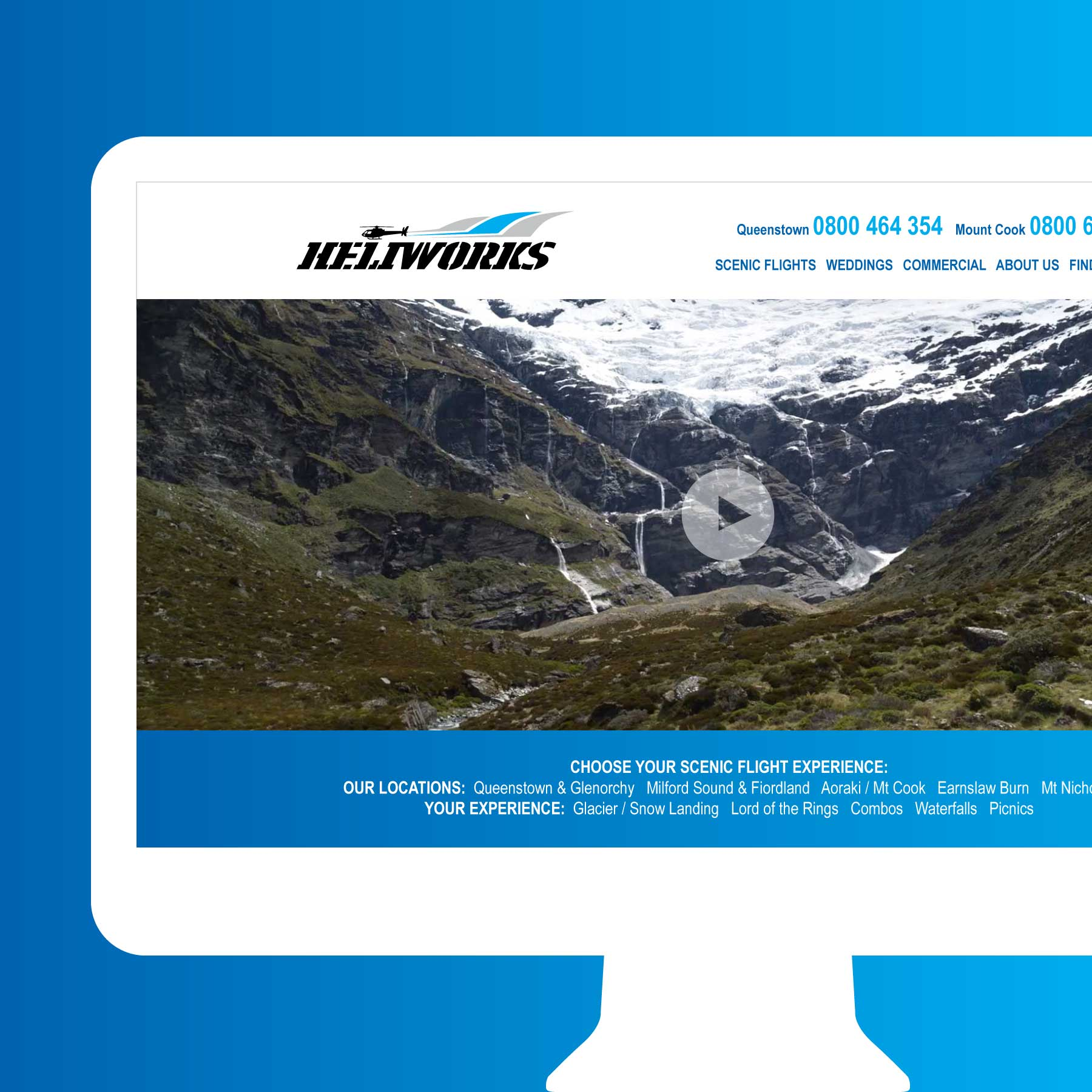 Heliworks Helicopters Scenic Flights Invercargill Web Design