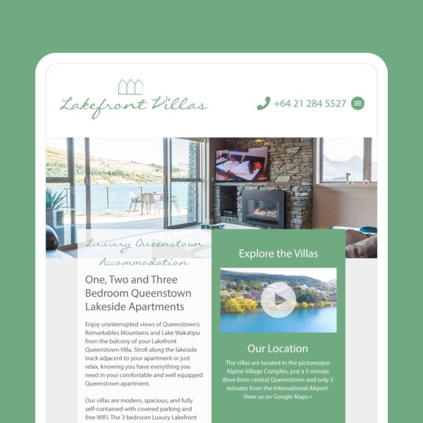 Lakefront Villas Invercargill Web Design
