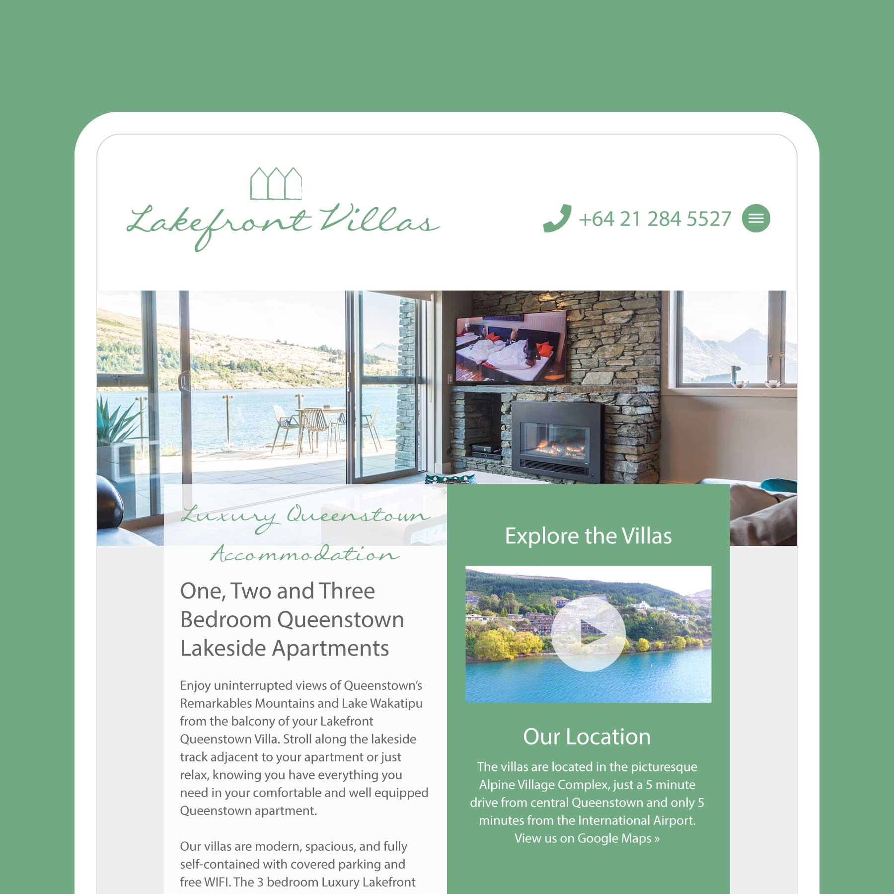 Lakefront Villas Luxury Accommodation Invercargill Web Design