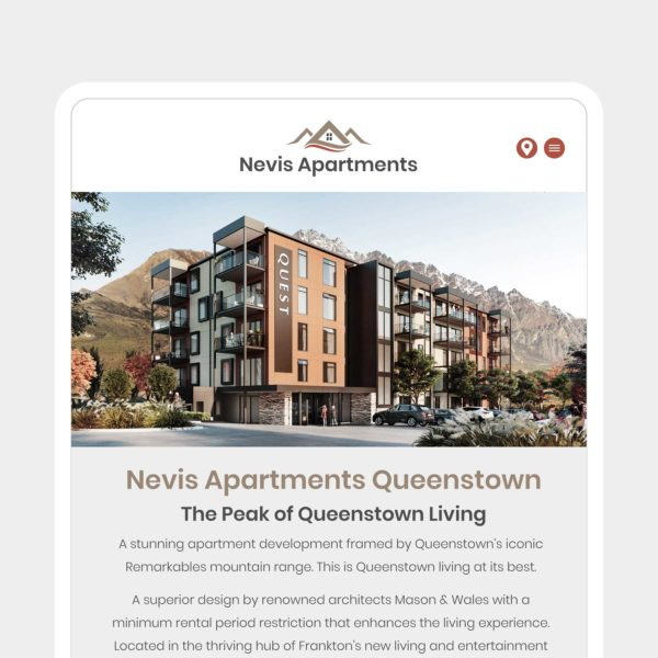 Nevis Apartments Invercargill Web Design