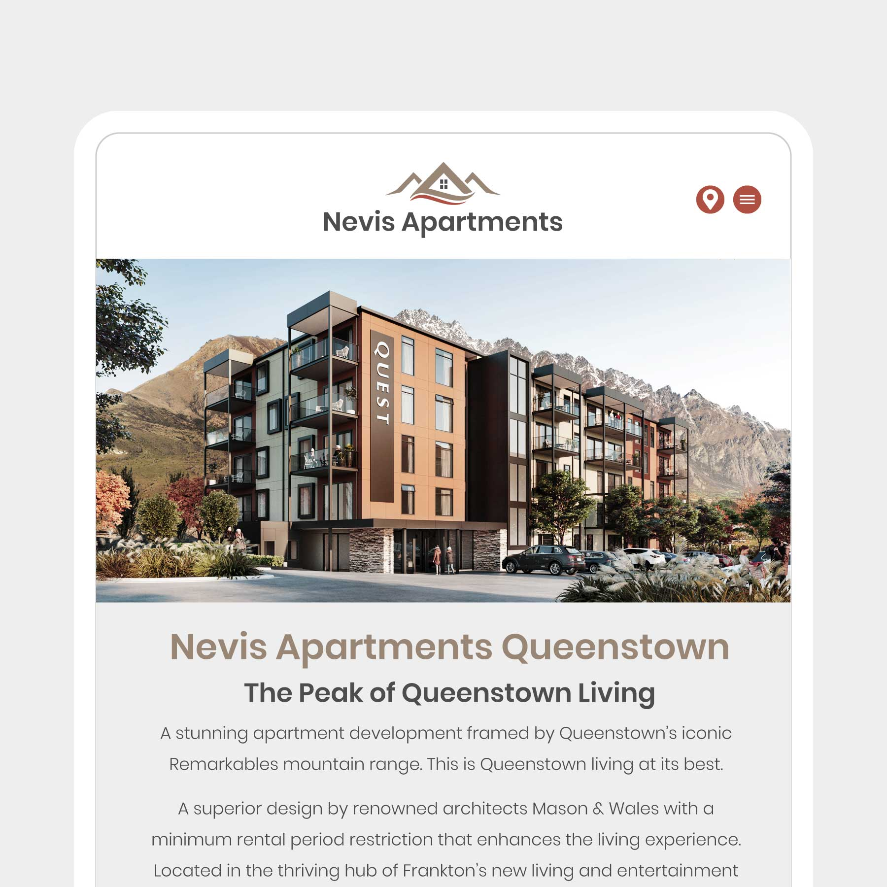 Nevis Apartments Accommodation Invercargill Web Design
