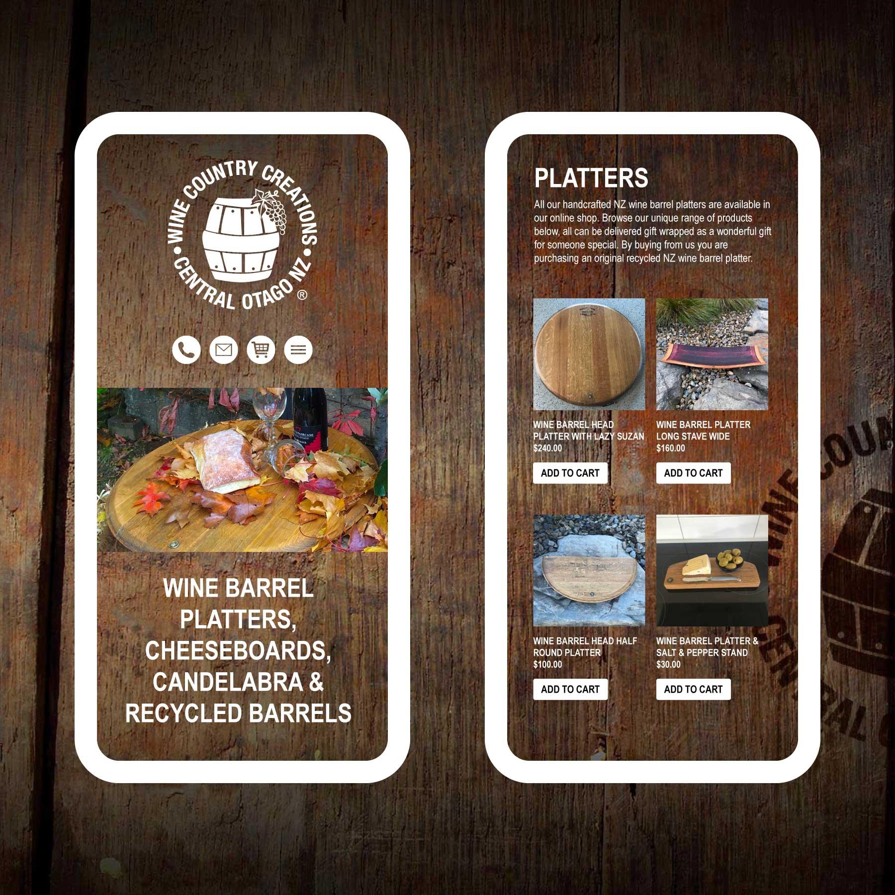Wine Country Creations Wine Barrel Platters Invercargill Web Design